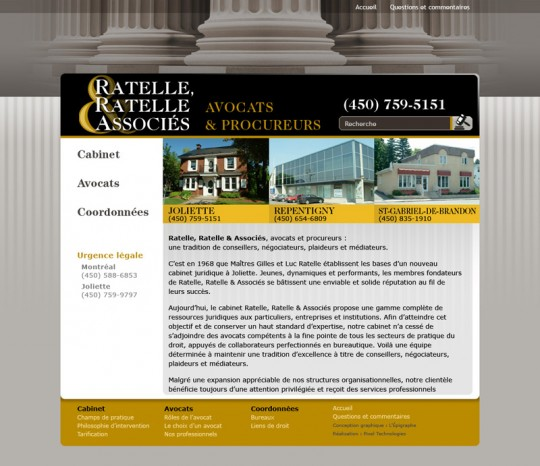 Site internet Avocats Ratelle